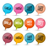 Sale, New, Hot Price Circle Vector Labels - Tags Set Isolated on White Background — Stok Vektör