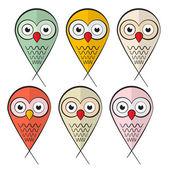 Owls Set Illustration Isolated on White Background — ストックベクタ