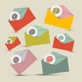 Vector Envelopes - E-mail Icons Set — Stock Vector