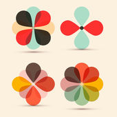 Abstract Vector Retro Flowers Set Illustration — Stock Vector