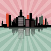 Evening - Morning City Scape Retro Skyline Illustration  — Stock Vector