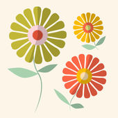 Retro Vector Illustration of Gerbera Flowers — ストックベクタ