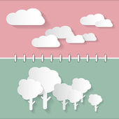 Retro Paper Clouds and Trees on Notebook Background  — ストックベクタ