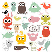 Colorful Simple Vector Animals Silhouette Set — Stock Vector