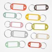 Chaves rótulos conjunto com anéis — Vetor de Stock