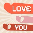 Love You Retro Paper Vector Illustration with Hearts — Stock Vector #48793859