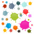 Colorful Vector Stains, Blots, Splashes Set Isolated on White Background — Stock Vector