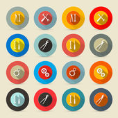 Retro Vector Tools Buttons - Icons Set — Stock Vector
