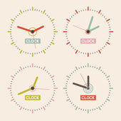 Abstract Retro Vector Clock Set Illustration — Stock Vector