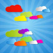 Colorful Cut Paper Clouds on Blue Background  — Stock Vector