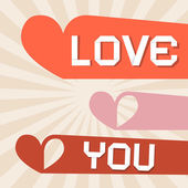 Love You Retro Paper Vector Illustration with Hearts — Stock Vector