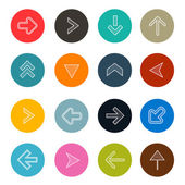 Colorful Hatched Arrows Set in Circles Vector Illustration — 图库矢量图片