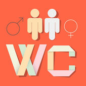 WC Title with Paper Cut People and Man Woman Symbols — Vector de stock