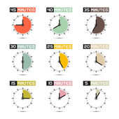 Clock Face Vector Illustration Set — Stock Vector