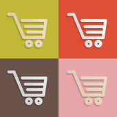 Paper Shopping Carts, Baskets Set on Retro Backgrounds — Stock Vector