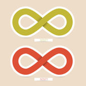 Red and Green Paper Vector Infinity Symbols — Stok Vektör