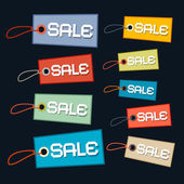 Sale Tags - Labels Set with Strings on Dark Background — Stock Vector