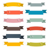 Retro Ribbons Set Illustration Set on White Background — Stock Vector