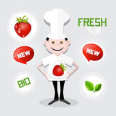 Chef - Cook Vector Illustration with Strawberry on Plate — Vector de stock