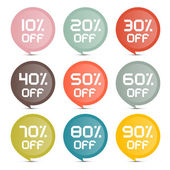 Flat Design Discount Colorful Vector Stickers - Labels Set — Stock Vector