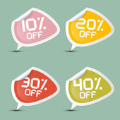 Vector Ten - Twenty, Thirty and Forty Percent Off Discount Stickers - Labels — Stock Vector