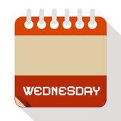 Wednesday Vector Paper Calendar Illustration — Stock Vector