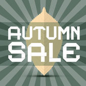 Retro Vector Autumn Sale Title with Leaf on Green Background — Stock Vector