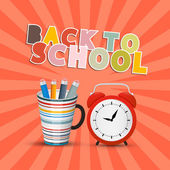 Back to School Retro Background with Paper Cut Title — Stock Vector