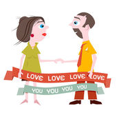 Man and Woman Holding Hands with Love You Title on Ribbon — Stock Vector