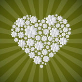 Heart Shaped Paper Cut Flowers on Green Retro Background — Διανυσματικό Αρχείο