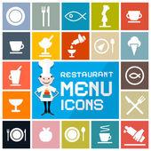 Colorful Flat Design Vector Restaurant Menu Icons Set — Stock Vector