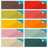 Colorful Empty Stickers Set with Bent Corner Vector Illustration — ストックベクタ