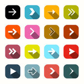 Colorful Vector Flat Design Arrows Set in Rounded Squares — Cтоковый вектор
