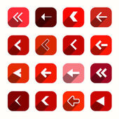 Red Vector Flat Design Arrows Set in Rounded Squares — Stock Vector
