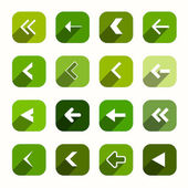 Green Vector Flat Design Arrows Set in Rounded Squares — Vector de stock