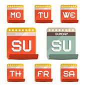 Calendar Symbols - Icons Set Vector Illustration — Stock Vector