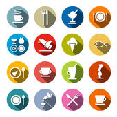 Colorful Circle Flat Design Vector Restaurant - Food Icons Set  — Stock Vector