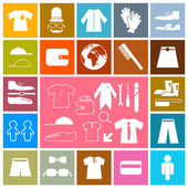 Clothing - Fashion Colorful Vector Square Flat Icons Set — Stok Vektör