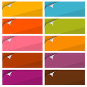 Colorful Empty Stickers Set with Bent Corner Set — Stock Vector