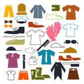 Clothing Vector Icons Set Vector Illustration — Stok Vektör
