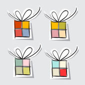 Paper Gift Box Set on Grey Background — Stok Vektör
