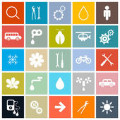 Flat Design Square Vector Icons Set — Stock Vector