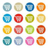 Shopping Cart, Basket, Web Symbols, Icons Set in Circles — Stock Vector
