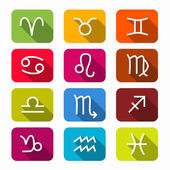 Zodiac, Horoscope Colorful Vector Symbols on Rounded Squares — Stock Vector