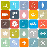 Colorful Flat Design Rounded Square Vector Icons Set — Stock Vector