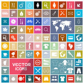 Colorful Vector Squares Flat Icons Set  — Stock Vector