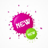 Green, Pink Vector New Splashes, Blots — Vector de stock