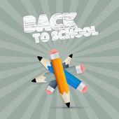 Vector Back to School Retro Illustration with Pencils — Stock Vector