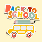 Back to School Title with Yellow Bus — Stock Vector