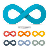 Colorful Paper Vector Infinity Symbols Set Isolated on White Background — Stockvector